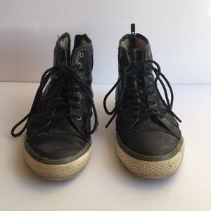 Frye Leather Shearling Lined Sneakers